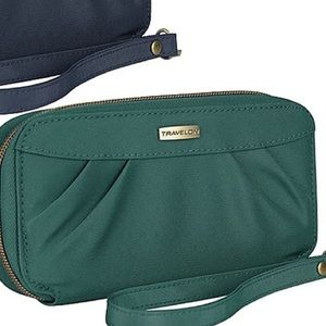Travelon green pleated wallet or wristlet